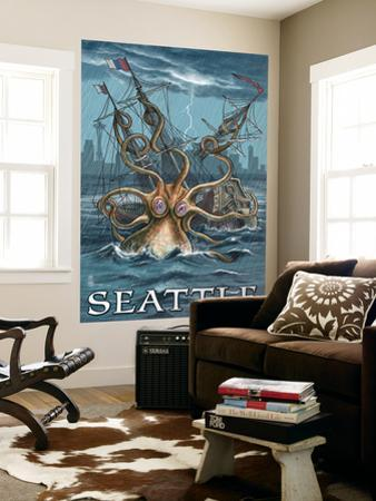 Kraken Attacking Ship - Seattle