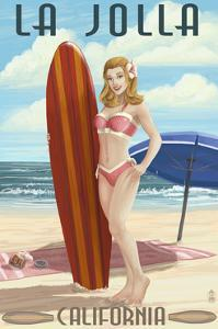 La Jolla, California - Pinup Surfer by Lantern Press