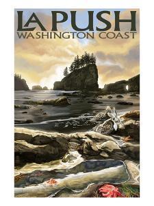 La Push Beach and Motorcycle, Washington by Lantern Press