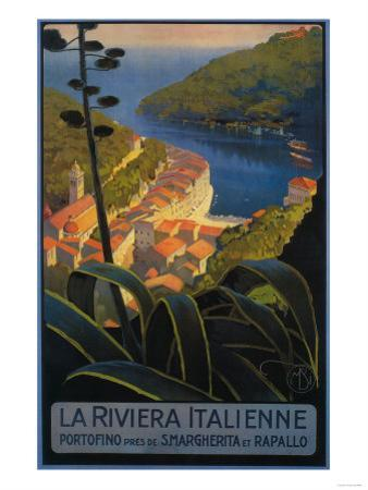 La Riviera Italienne: From Rapallo to Portofino Travel Poster - Portofino, Italy by Lantern Press