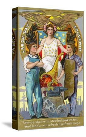 Labor Day Souvenir Laborers with Lady Justice
