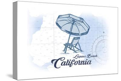 Laguna Beach, California - Beach Chair and Umbrella - Blue - Coastal Icon