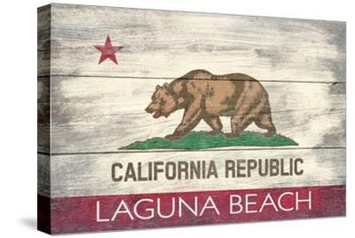 Laguna Beach, California - California State Flag - Barnwood Painting
