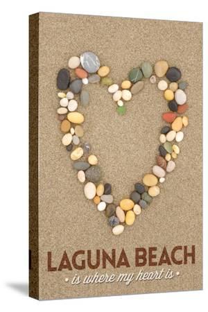 Laguna Beach, California Is Where My Heart Is - Stone Heart on Sand
