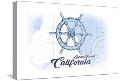 Laguna Beach, California - Ship Wheel - Blue - Coastal Icon
