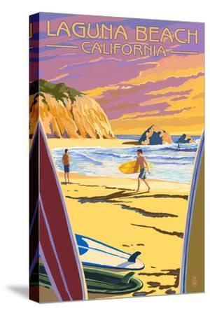 Laguna Beach, California - Surfers at Sunset