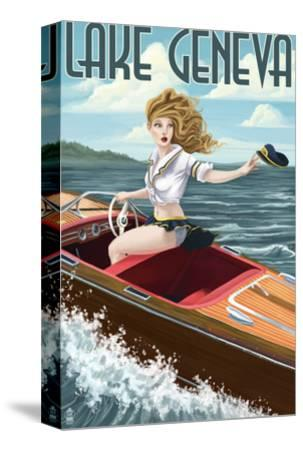 Lake Geneva, Wisconsin - Pinup Girl Boating