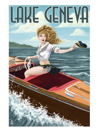 Lake Geneva, Wisconsin - Pinup Girl Boating by Lantern Press