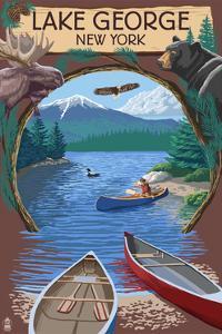 Lake George, New York - Canoe Scene by Lantern Press