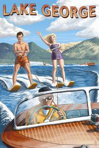 Lake George, New York - Waterskiers and Boat by Lantern Press