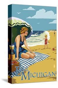 Lake Michigan - Beach Scene by Lantern Press