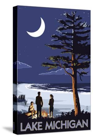 Lake Michigan - Bonfire at Night Scene by Lantern Press