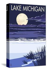 Lake Michigan - Full Moon Night Scene by Lantern Press