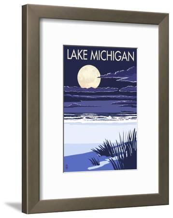 Lake Michigan - Full Moon Night Scene