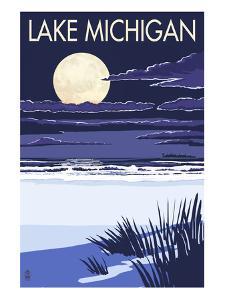Lake Michigan - Full Moon Night Scene by Lantern Press
