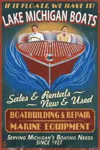 Lake Michigan, Michigan - Boat Shop by Lantern Press
