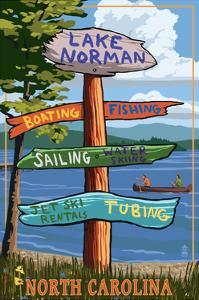 Lake Norman, North Carolina - Destination Sign by Lantern Press