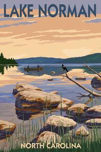 Lake Norman, North Carolina - Lake Scene and Canoe by Lantern Press