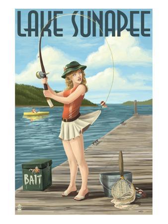 Lake Sunapee, New Hampshire - Pinup Girl Fishing by Lantern Press