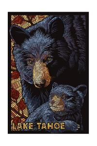 Lake Tahoe - Black Bears - Mosaic by Lantern Press