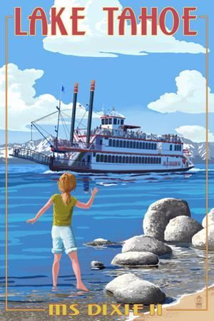 Lake Tahoe - MS Dixie II Paddleboat by Lantern Press