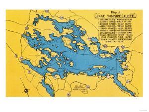 Lake Winnipesaukee, Maine - Roadmap of the Lake and Highways by Lantern Press