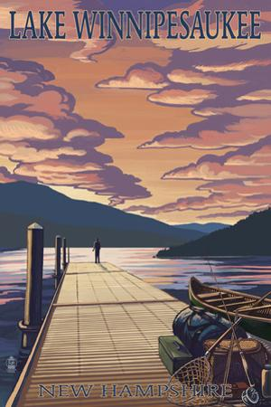 Lake Winnipesaukee, New Hampshire - Dock Scene at Sunset by Lantern Press