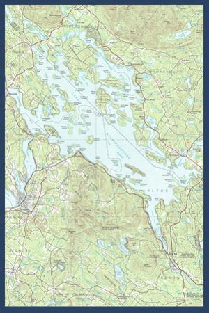 Lake Winnipesaukee, New Hampshire - Map Only by Lantern Press