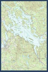 Lake Winnipesaukee, New Hampshire - Map Only by Lantern Press