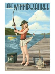 Lake Winnipesaukee, New Hampshire - Pinup Girl Fishing by Lantern Press