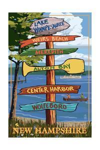Lake Winnipesaukee, New Hampshire - Signpost Destinations by Lantern Press