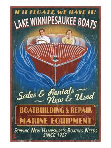 Lake Winnipesaukee, New Hampshire - Vintage Boat Sign by Lantern Press