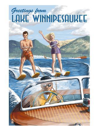 Lake Winnipesaukee, New Hampshire - Water Skiing Scene