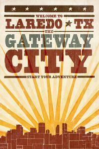 Laredo, Texas - Skyline and Sunburst Screenprint Style by Lantern Press