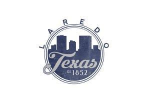 Laredo, Texas - Skyline Seal (Blue) by Lantern Press