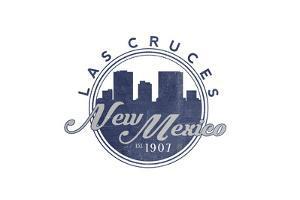 Las Cruces, New Mexico - Skyline Seal (Blue) by Lantern Press