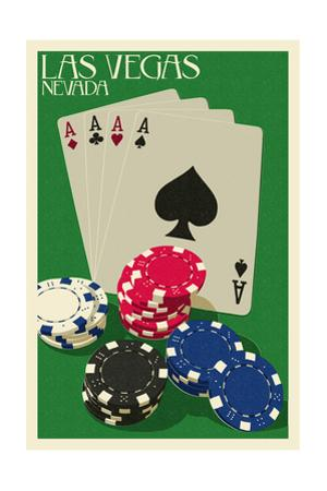 Las Vegas, Nevada - Poker Cards and Chips by Lantern Press
