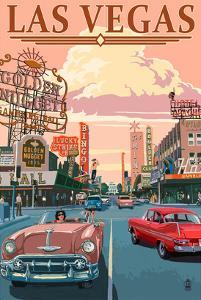 Las Vegas Old Strip Scene by Lantern Press