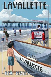 Lavallette, New Jersey - Lifeguard Stand by Lantern Press