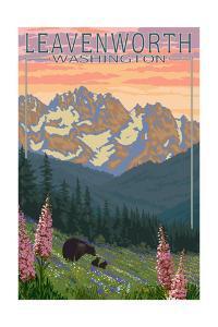 Leavenworth, Washington - Bears and Spring Flowers by Lantern Press