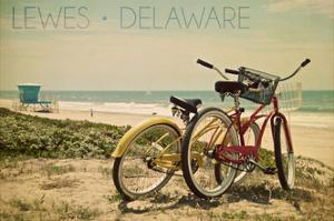Lewes, Delaware - Bicycles and Beach Scene by Lantern Press