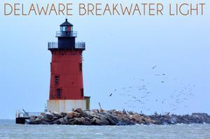 Lewes, Delaware - Cape Henlopen Lighthouse Day by Lantern Press