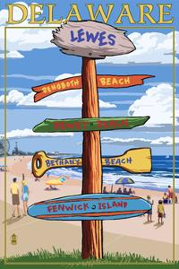 Lewes, Delaware - Destination Signpost by Lantern Press