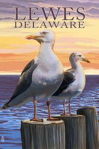 Lewes, Delaware - Seagulls by Lantern Press