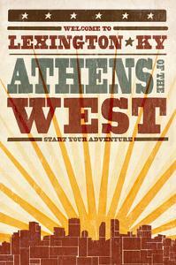 Lexington, Kentucky - Skyline and Sunburst Screenprint Style by Lantern Press