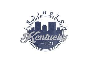 Lexington, Kentucky - Skyline Seal (Blue) by Lantern Press