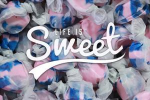 Life is Sweet - Taffy Collage Sentiment by Lantern Press