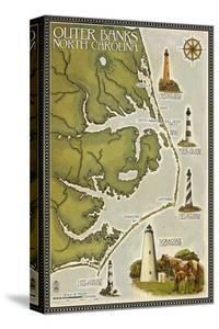 Lighthouse and Town Map - Outer Banks, North Carolina by Lantern Press
