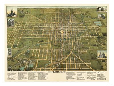 Lima, Ohio - Panoramic Map by Lantern Press