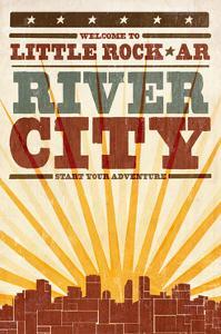 Little Rock, Arkansas - Skyline and Sunburst Screenprint Style by Lantern Press